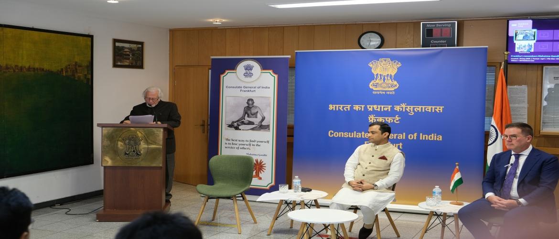 Dr. Martin Kämpchen, Gandhian Scholar speaking on the occasion of Gandhi Jayanti in CGI, Frankfurt.