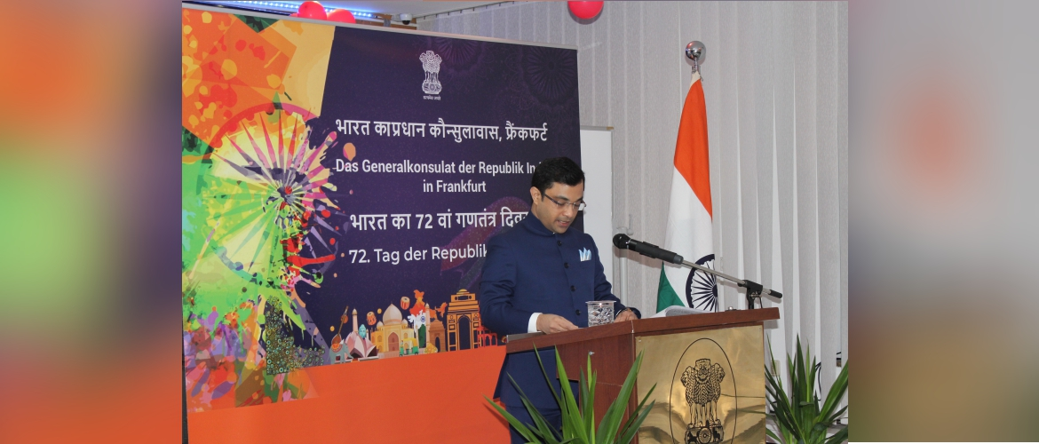 Consul General Dr. Amit Telang reading the Hon'ble President's Address to the Nation on the occasion of the 72nd Republic Day of India.