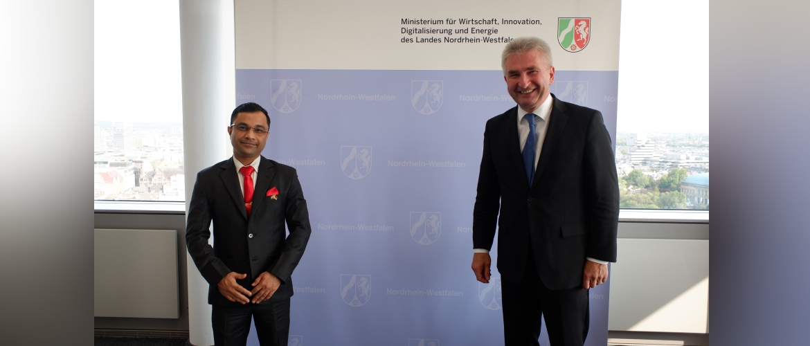 Consul General Dr. Amit Telang called on Prof. Dr. Andreas Pinkwart, Minister for Economy, Innovation, Digitization and Energy of the State of North Rhine-Westphalia on 11 September 2020.