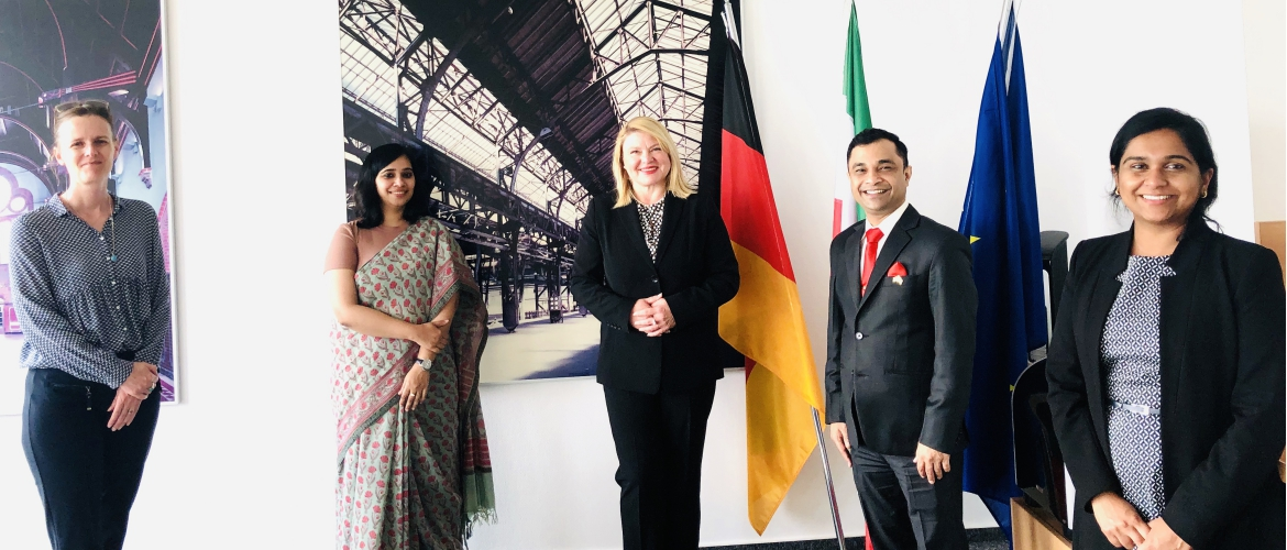 Consul General Dr. Amit Telang visited the economic development agency NRW.INVEST GmbH and met Ms. Astrid Becker, General Manager Asia, Australia, South America and Ms. Stephanie Beeres, Head of Business Unit India, on 11 September 2020.