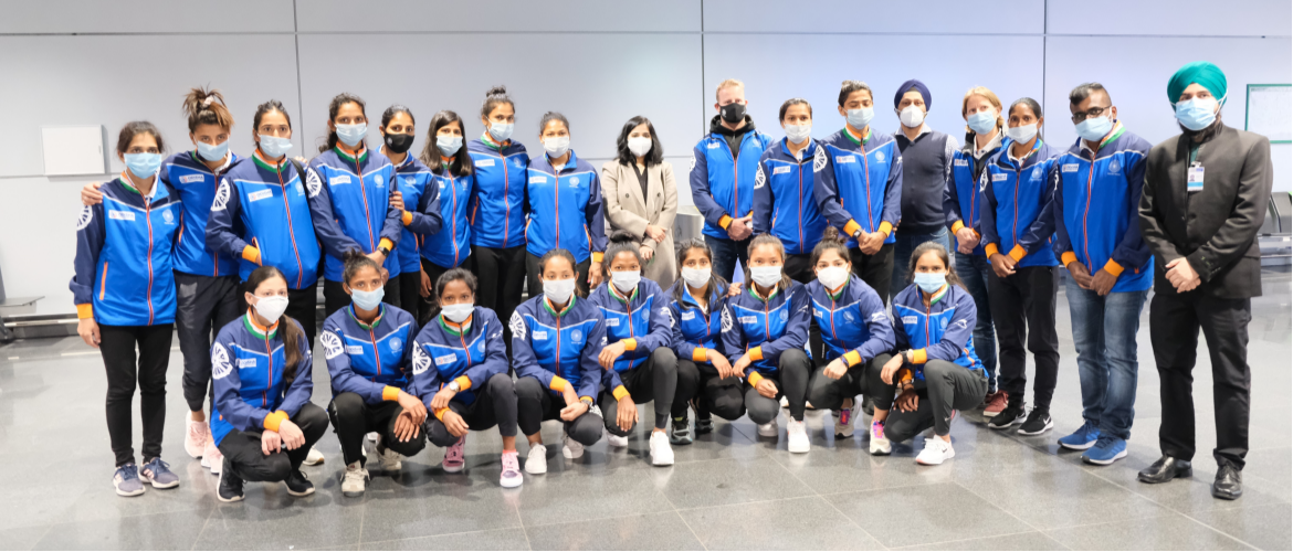 Indian Women Hockey Team arrive in Frankfurt on 23rd February 2021 for their matches with Germany.